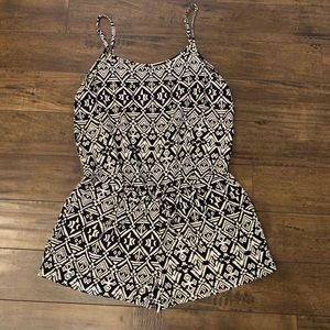 Black & White Womens Romper w/Pockets